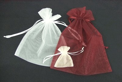 画像1: オーガンジーバッグ(オーガンジー袋・巾着袋)【SS】アイボリー 1束10枚入