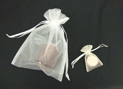 画像2: オーガンジーバッグ(オーガンジー袋・巾着袋)【L】アイボリー 1束10枚入