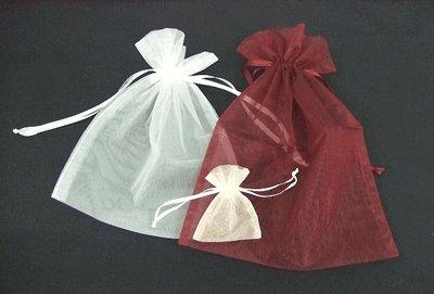 画像1: オーガンジーバッグ(オーガンジー袋・巾着袋)【L】アイボリー 1束10枚入